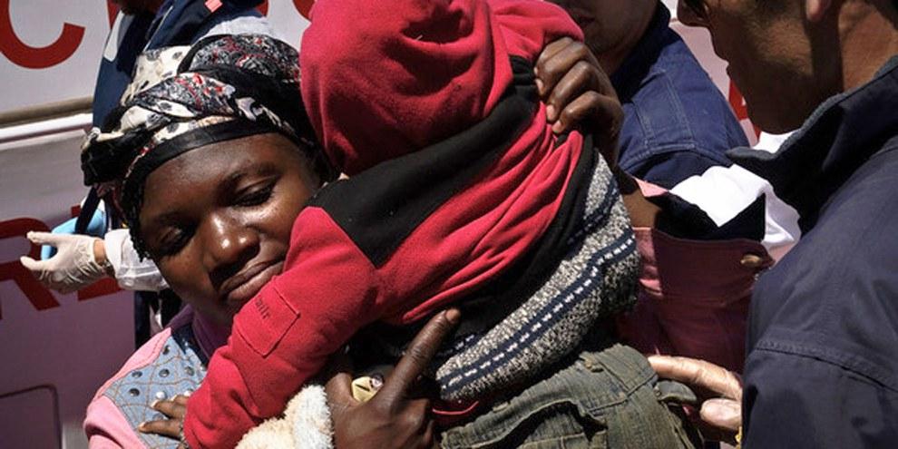 Flucht aus Libyen auf einem Boot. © UNHCR/F. Noy