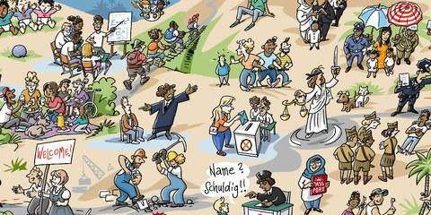 Wimmelbild-Poster zum Jubiläum der Menschenrechtserklärung © Detlef Surrey