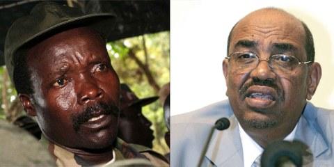 Auch die Schweiz könnte mutmassliche Kriegsverbrecher (im Bild Omar al-Bashir und Kony) auf ihrem Territorium verfolgen – dank universeller Gerichtsbarkeit.  © APGraphicsBank