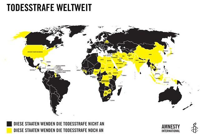 Länder mit und ohne Todesstrafe. © AI