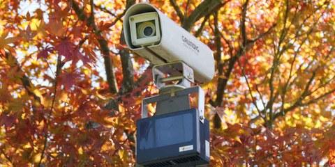 Eine Überwachungskamera an der Schweizer Grenze. © Thomas Bresson / Wikicommons