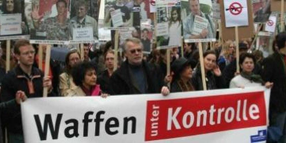 Demonstration in Deutschland für ein verbindliches Abkommen zur Kontrolle des Waffenhandels © AI