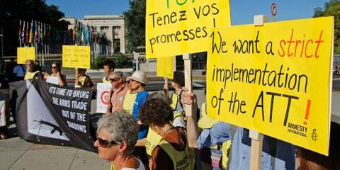 NGO-Delegierte aus aller Welt nahmen an der Konferenz des Arms Trade Treaty (ATT) in Genf teil. © AI/Samuel Fromhold