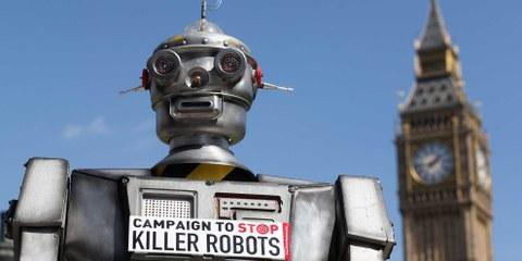Die Kampagne zur Bekämpfung von Killerrobotern ist eine wachsende globale Koalition von NGOs, darunter Amnesty International, die sich für das Verbot völlig autonomer Waffen einsetzt.. © Oli Scarff/Getty Images