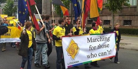 Litauische AktivistInnen im Mai 2009 an der Baltic Pride © Amnesty International
