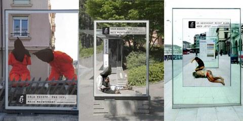 Beispiele der Plakatkampagne «Es geschieht nicht hier. Aber jetzt.» Klicken auf Bild für Bildgalerie © Walker Werbeagentur AG
