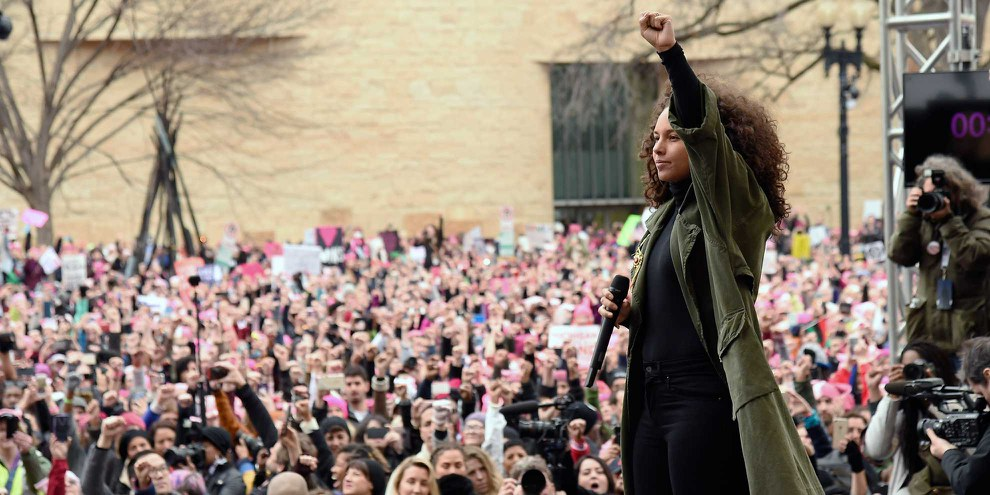 Alicia Keys am Women's March in Washington am 21. Januar 2017. © Kevin Mazur/WireImage