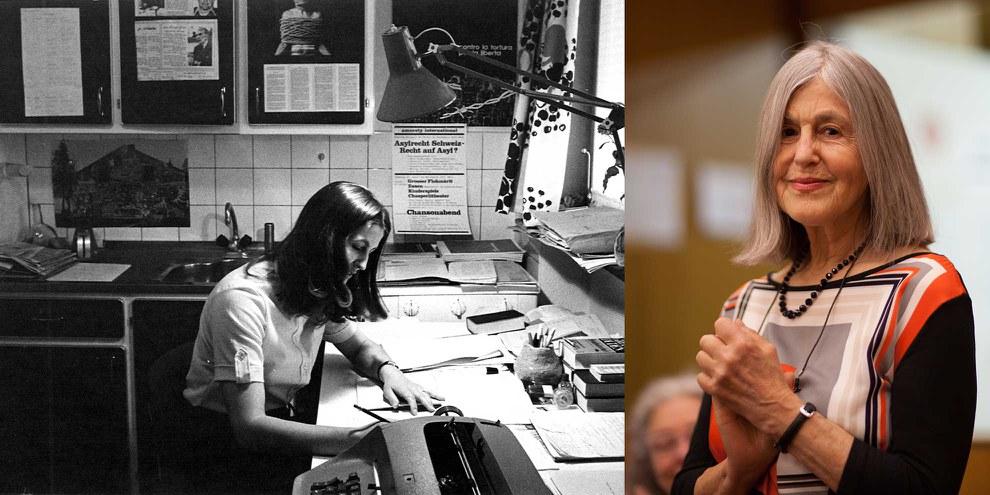 Sie engagiert sich mit Leib und Seele für die Menschenrechte: Marta Fotsch, 1977 in ihrem Büro bei sich zu Hause und 2016 an der Amnesty-GV. © AI