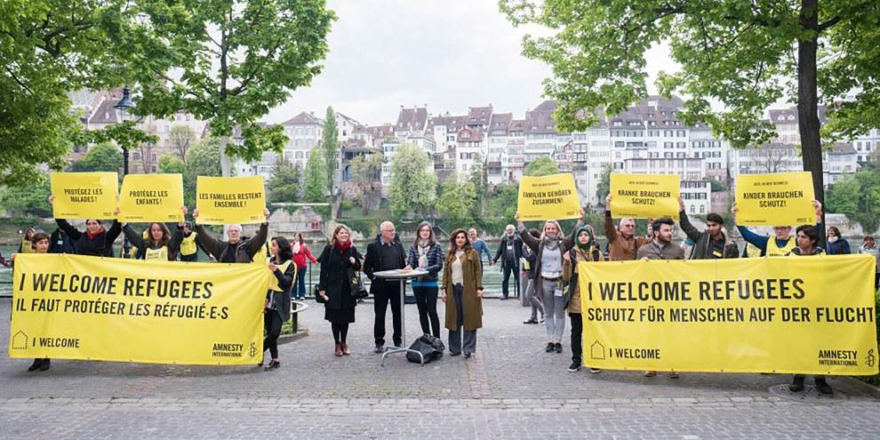 Aktion zur Lancierung des Appells gegen die sture Umsetzung der Dublin-Verordnung an der GV 2017 von Amnesty Schweiz. © Mario Heller