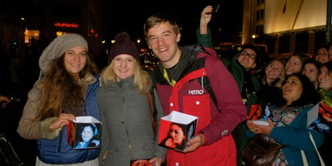 Die Schweizer Delegation (v.l.): Lea, Janka und Praktikant André  © Lea Schlunegger