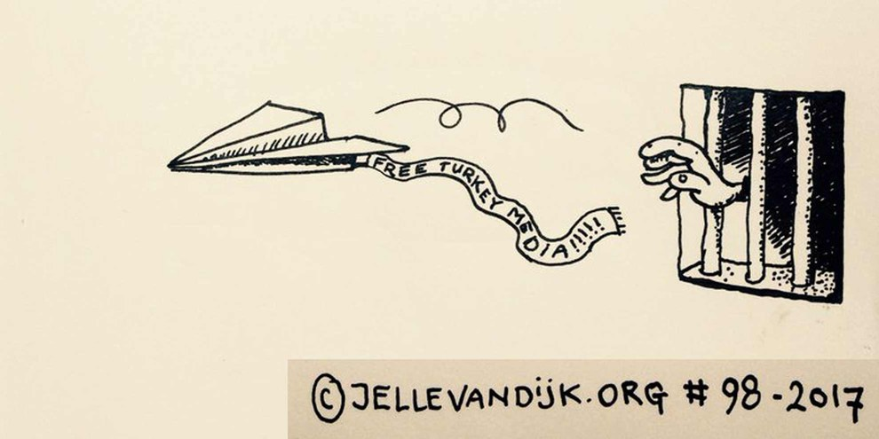 Caricature pour la campagne #FreeTurkeyMedia. © The blub cartoon