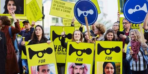 Manifestation pour la libération de militants en faveur des droits des femmes en Arabie Saoudite, en octobre 2018 à La Haye, Pays-Bas. ©Pierre Crom