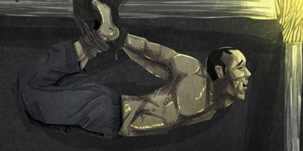 Illustration d'une technique de torture appelée «la balançoire» qui est utilisée par les forces de sécurités au Cameroun.