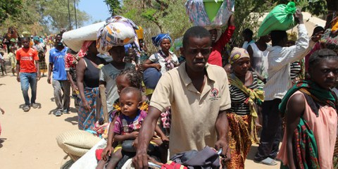 Arrivée de personnes déplacées dans le district de Metuge, province de Cabo Delgado, le 29 décembre 2020. © Estacio Valoi