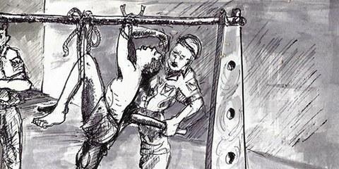 Ce dessin de Chijioke Ugwu Clement illustre une scène de torture sur la base de témoignages. © Chijioke Ugwu Clement
