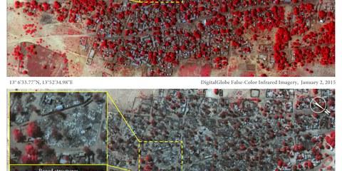 Les images montrent le village de Doro Baga avant et après les attaques du groupe et illustrent la terrible ampleur des destructions. © DigitalGlobe