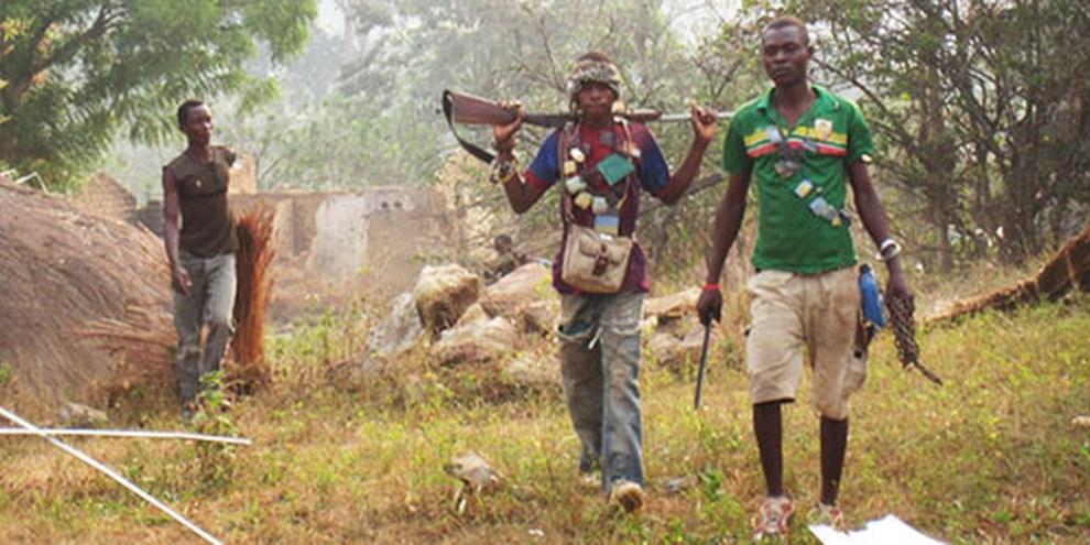 Au nord de Bangui, des membres de la milice anti-Balaka ont participé à des destructions de mosquées, entre autres. © Amnesty International
