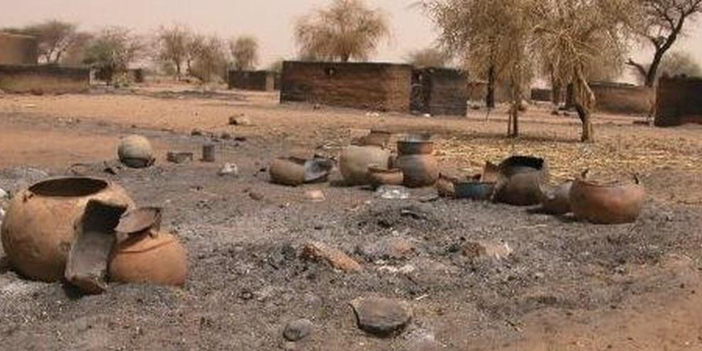 Village attaqué et brûlé par les milices janjawids © WFP/Marcus Prior