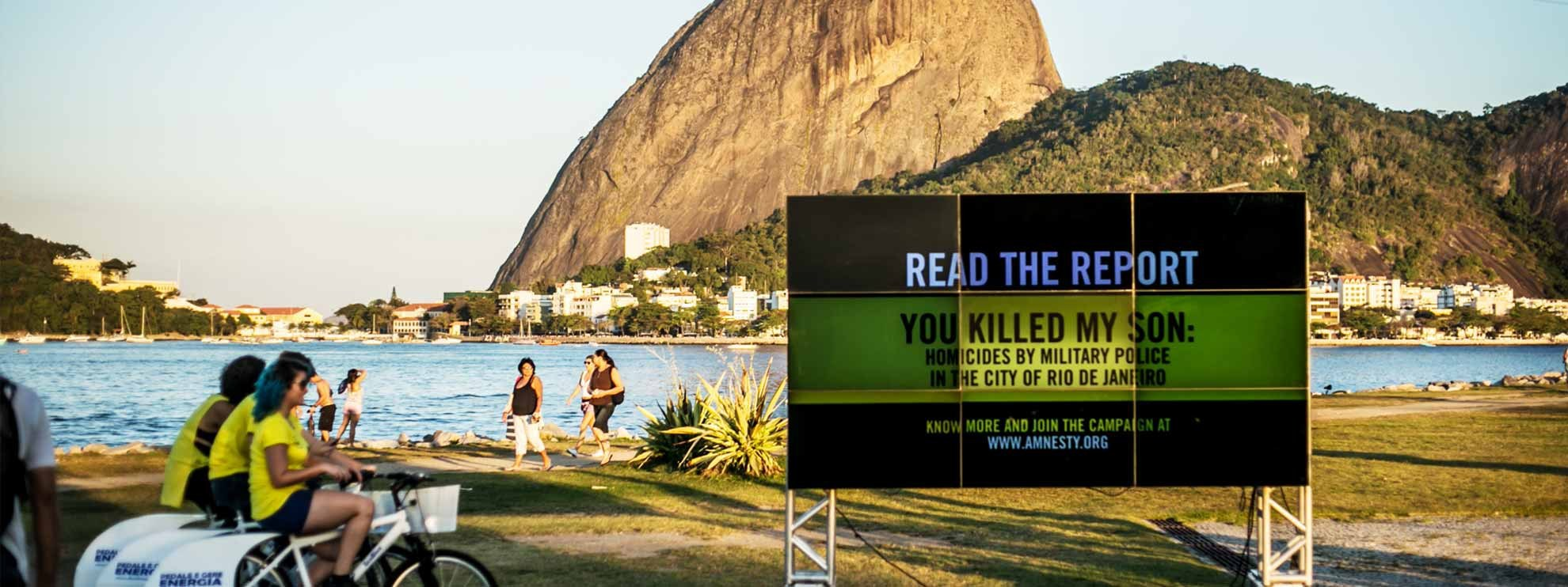 Action lors de la publication du rapport d'Amnesty: «You killed my son - Homicides by military police in the city of Rio de Janeiro» © Thiago Dezan/ Amnistia Internacional Brasil