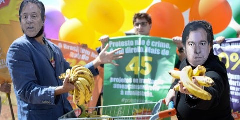 Des militants lancent le 31 juillet 2017 la campagne «Les droits humains ne sont pas à vendre», pour dénoncer un ordre du jour législatif anti-droits humains. On dénombre jusqu'à 200 projets de loi et modifications constitutionnelles, couvrant divers sujets et affectant divers droits fondamentaux.  © Andressa Andressa