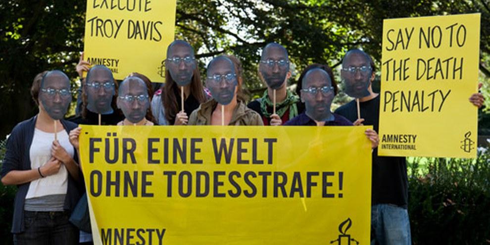 Action devant l'ambassade des Etats-Unis à Berne, 15 septembre 2011. © AI