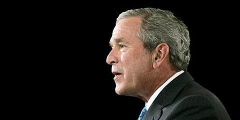 George W. Bush, alors président, parlant de terrorisme dans l'East Room de la Maison Blanche. Washington, 6 septembre 2006.  © APGraphicsBank