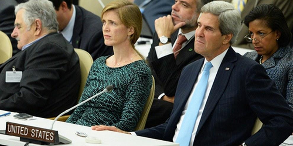 La délégation des États-Unis a écouté le discours de Barak Obama lors de l'Assemblée générale de l'ONU. © STAN HONDA/AFP/Getty Images