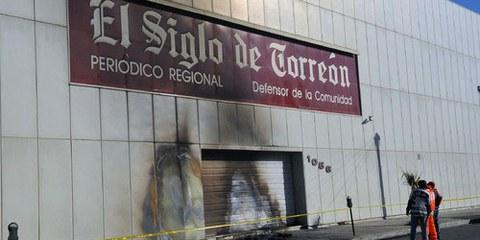 Un groupe armé a attaqué les bureaux du journal El Siglo de Torreón dans l'Etat de Coahuila, au nord du Mexique, en novembre 2011.  © El Siglo de Torreón
