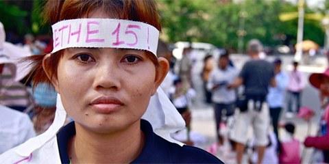 Yorm Bopha lors d'une manifestation à Phnom Penh © Jenny Holligan