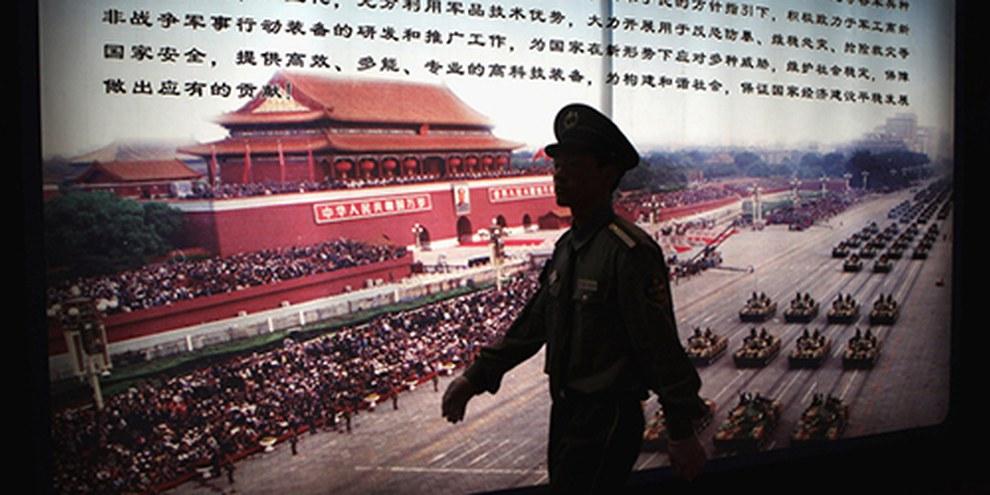Le salon international des équipements de police et des technologies antiterroristes est la vitrine des instruments de torture 'made in China'. © Feng Li/Getty Images