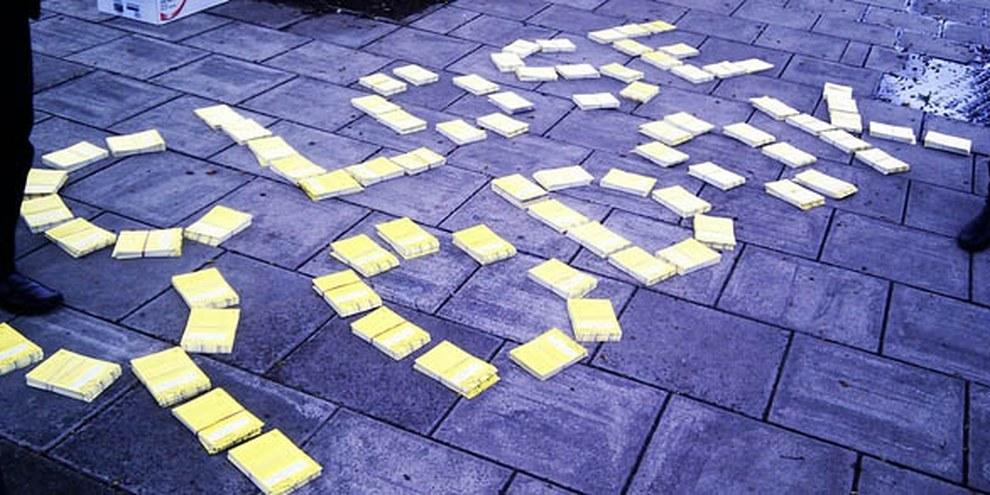 Action d'Amnesty à Londres pour la fermeture du camps de travail de Yodok. © AI