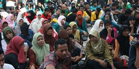 Une manifestation des victimes de l'Aceh. © Koalisi NGO HAM Aceh