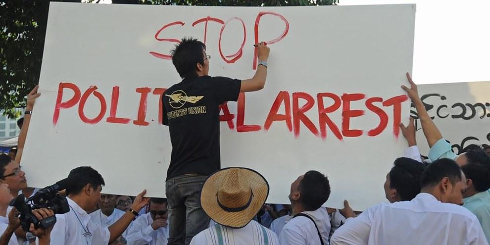 Les autorités du Myanmar ont mené ces deux dernières années une répression de grande ampleur contre les opposant·e·s. © Soe Than WIN/AFT/Getty Images