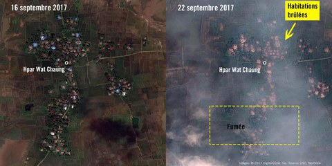 Hpar Wat Chaung, au nord du Myanmar. Entre le 16 et le 22 septembre 2017, le village a été complètement rasé. © 2017 DigitalGlobe, Inc. Source: USG, NextView License