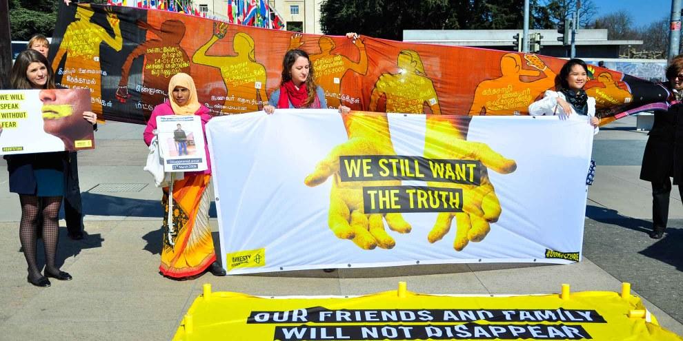 Également devant l'ONU à Genève, des Sri Lankais ont manifesté contre la disparition. ©  AI / Jean-Marie Banderet