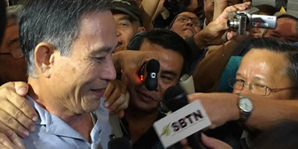 Blogueur très lu abordant des questions de justice sociale, Dieu Cay a été inculpé pour «propagande» contre l'État. © Amnesty International