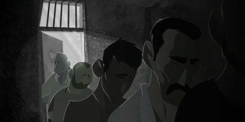 Image tirée du film d'animation sur la prison de Saidnaya: des milliers de prisonnier·ère·s ont été systématiquement torturé·e·s et exécuté·e·s dans de telles prisons en Syrie. © Cesare Davolio/Amnesty International