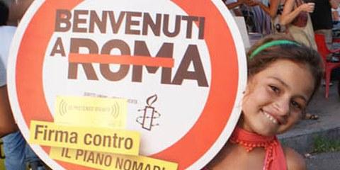 Une manifestation d'Amnesty pour les droits des Roms en Italie. © AI Italie