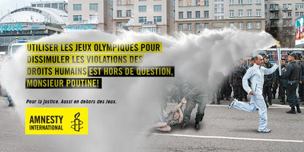Durant l'hiver 2013, la section d'Amnesty International a mené la campagne «Pour la justice. Aussi en dehors des jeux.» © Spinas