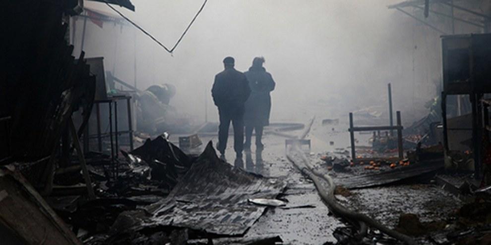 Plusieurs actes de violence ont eu lieu en Tchétchénie depuis le début du mois. Le 4 décembre, un bâtiment abritant plusieurs médias à Grozny était la cible d'une attaque. © ELENA FITKULINA/AFP/Getty Images