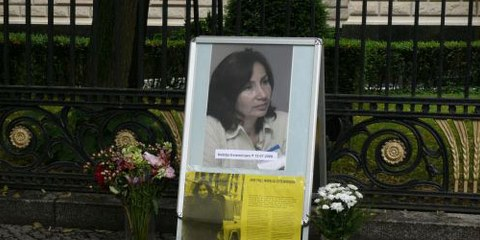 Célébration en la mémoire de Natalia Estemirova à Berlin devant l'ambassade de Russie. © Amnesty International Allemagne