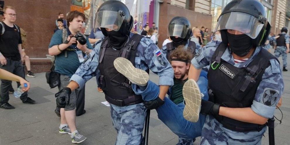 Le 3 août, plus de 590 manifestants ont été arrêtés au centre de Moscou. © Amnesty International