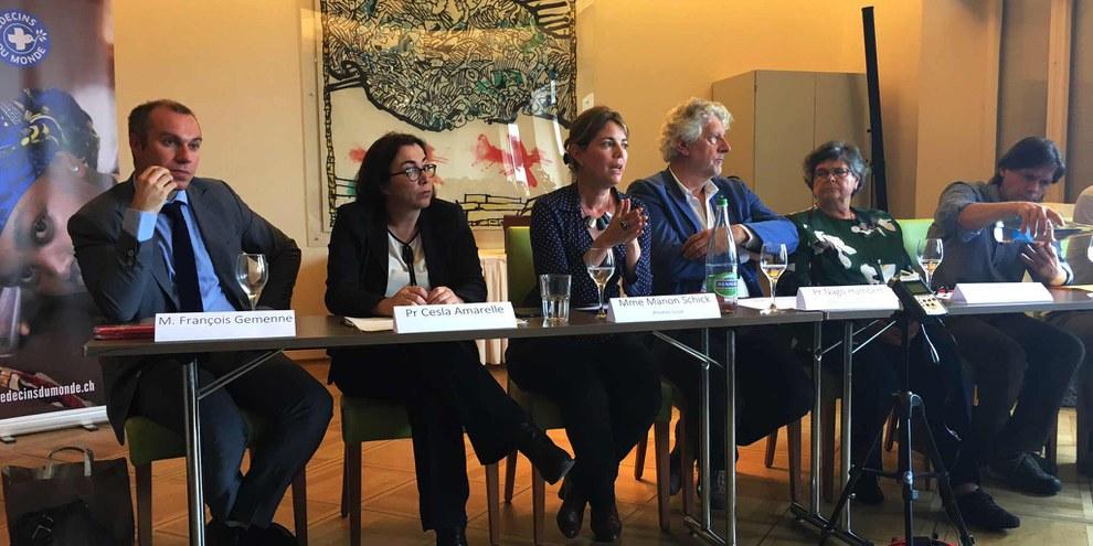 Lors de la conférence de presse de  «l'Appel de Neuchâtel», le 21 juin 2016 à Neuchâtel. © Amnesty International