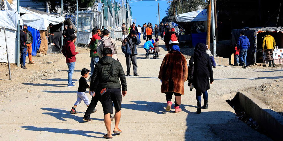 Le camp de Moira à Lesbos.  © Giorgos Moutafis/Amnesty International