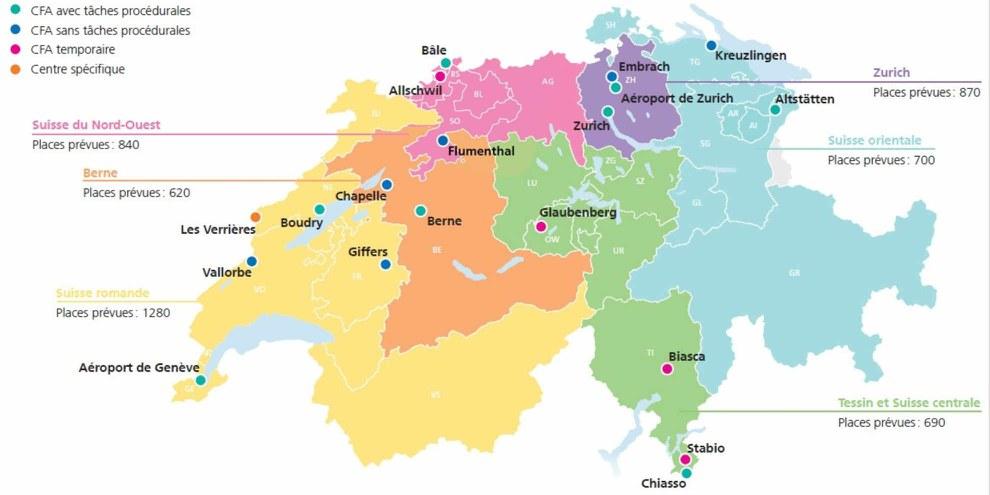 Les centres pour requérant·e·s d'asile dans six régions de la Suisse. © SEM (www.sem.admin.ch)