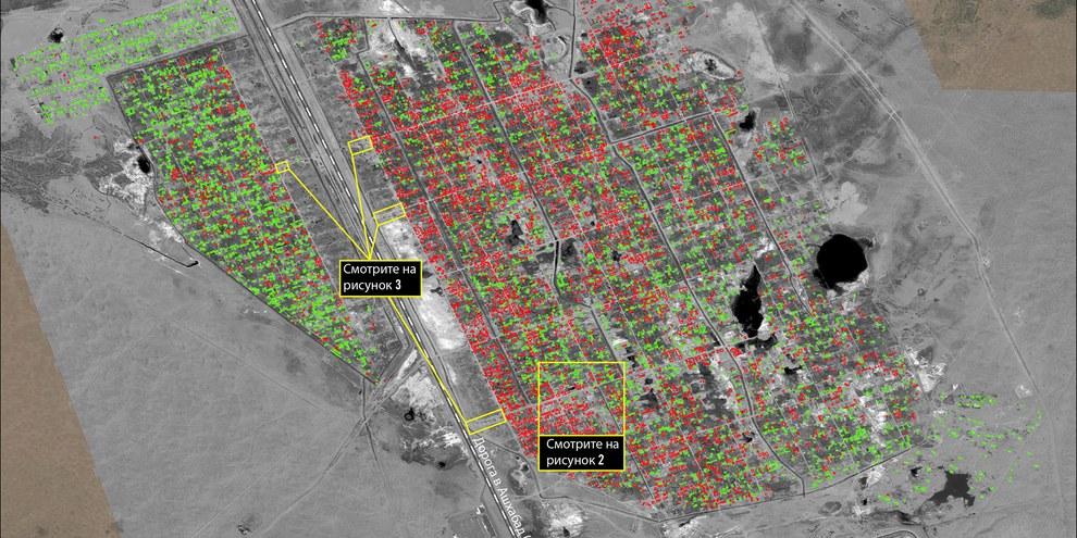 Plus de 10 000 maisons ont été entièrement rasé dans le quartier de Tchoganly, près d'Achgabat, entre mars 2014 et avril 2015. ©  DigitalGlobe