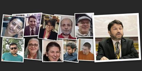 Taner Kiliç, Idil Eser et les autres défenseur·e·s des droits humains arrêté·e·s en même temps qu'elle en Turquie. © Amnesty International