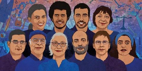 Idil Eser (au milieu) et les autres défenseurs et défenseuses des droits humains arrêté·e·s. © Rebecca Hendin