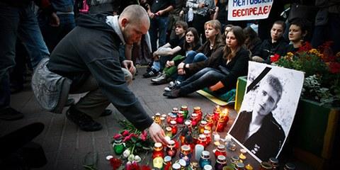 En mai 2010, l'étudiant Igor Indilo est décédé dans les locaux de la police à Kiev, suite à des actes de torture selon de nombreuses personnes. © Sergei Svetlitsky/Demotix