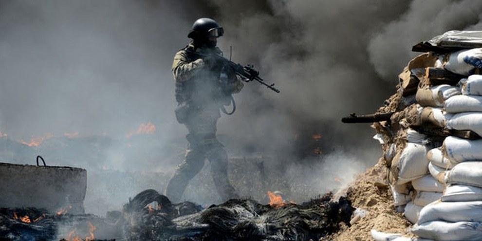 Les forces ukrainiennes ont lancé une offensive aux postes de contrôle de Slovyansk en avril 2014. KIRILL KUDRYAVTSEV/AFP/Getty Images
